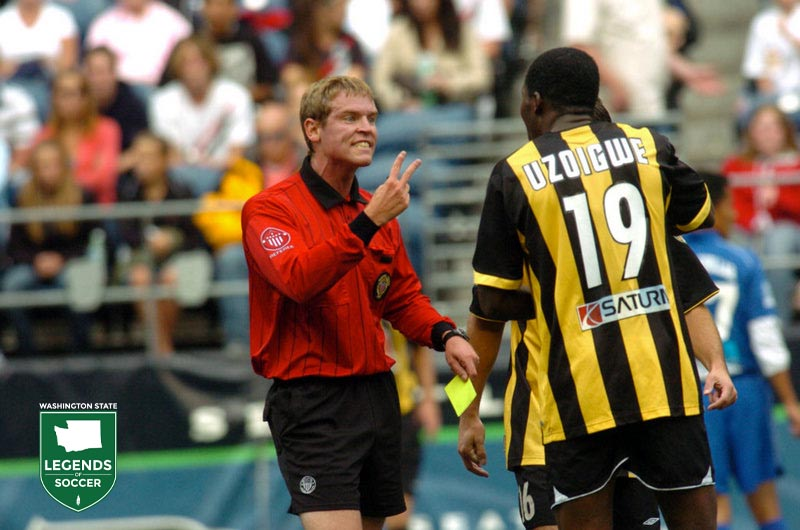 After working USL Division I and Open Cup matches, Seattle's Jeff Hosking is assigned as assistant referee for the 2007 Mexico-China friendly at Qwest Field.