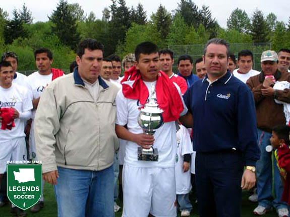 Liga Hispana del Noroeste (Hispanic League of the Northwest) grows to 72 teams under the direction of president Exequiel Soltero, right.