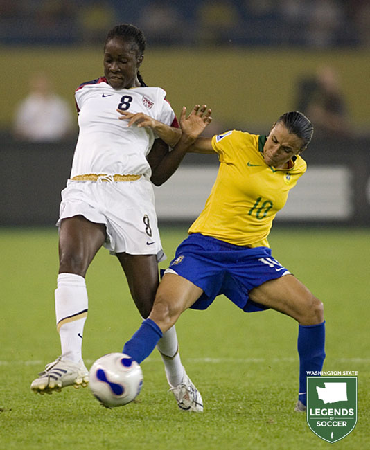 Vancouver's Tina Frimpong Ellertson makes 13 appearances for the USWNT in 2007.