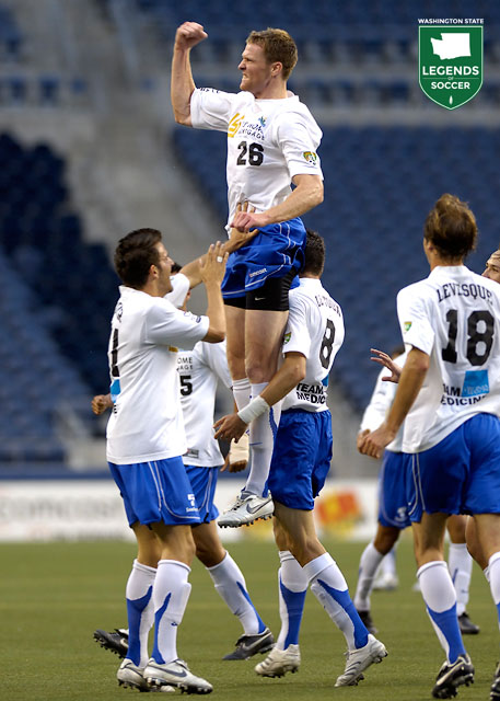 Taylor Graham leaps after scoring against Colorado in the Sounders' 5-0, U.S. Open Cup victory at Qwest Field. (Courtesy USL)