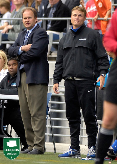 Sounders head coach Brian Schmetzer (left) and assistant Darren Sawatzky guided Seattle to the Commissioners' Shield and USL Championship double in 2007. (Courtesy USL)