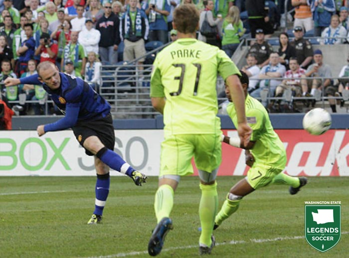 Manchester United's Wayne Rooney fires at the Sounders FC goal en route to scoring a second-half hat trick in the 7-0 friendly. (Sounders FC photo)