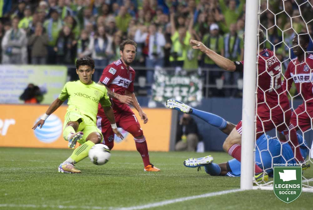Fredy Montero's goal in the 78th minute put Sounders FC ahead of Chicago in the 78th minute of the 2011 U.S. Open Cup final. (Sounders FC photo)