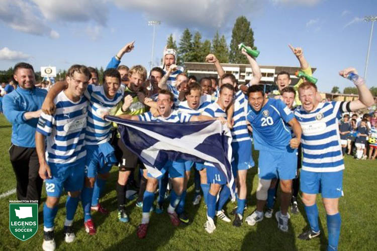 Kitsap Pumas not only celebrate winning their first Premier Development League title but do so at home, in Bremerton, after defeating Laredo, 1-0. (Kitsap Pumas photo)