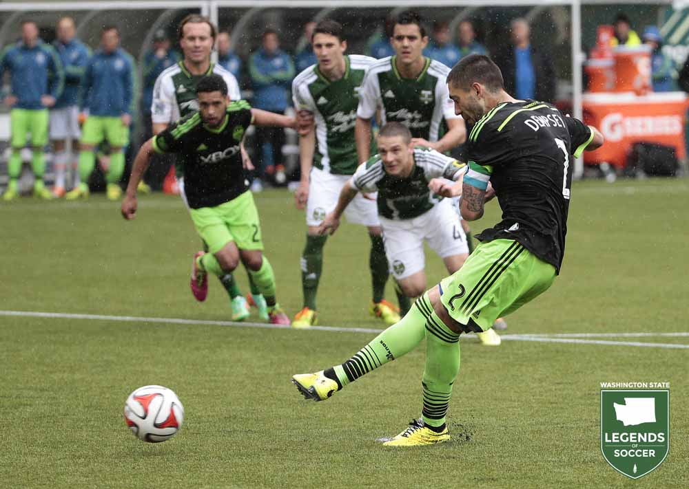Clint Dempsey connects on a penalty kick as part of his hat trick in rally to draw at Portland. (Sounders FC photo)