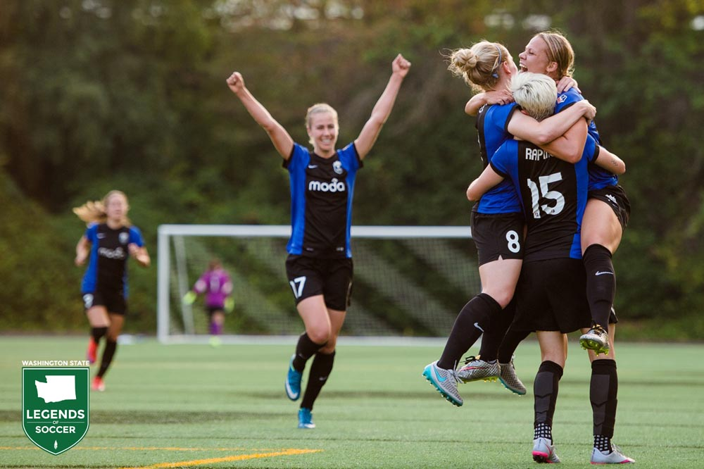 Beverly Yanez, left, joins in celebrating one of many Reign FC goals en route to the NWSL Shield. (Jane Gersovich photo)