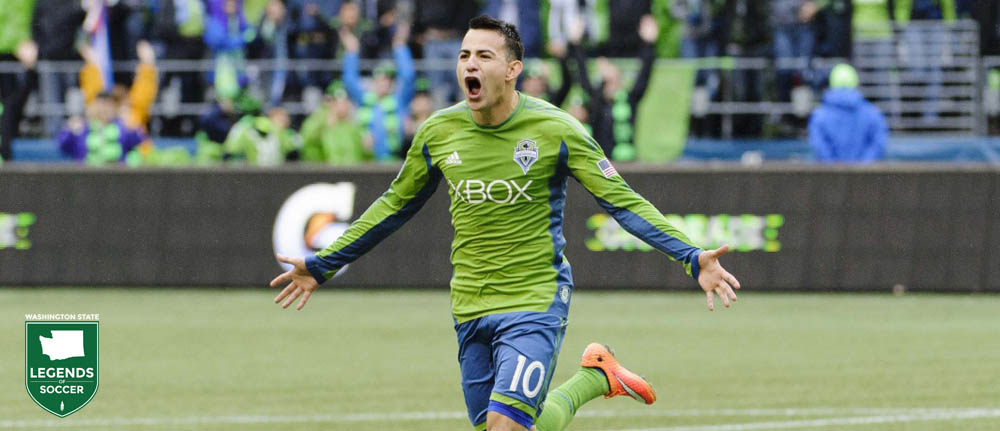 Marco Pappa celebrates scoring to clinch the Supporters' Shield for Sounders FC vs. the Galaxy. (Sounders FC photo)