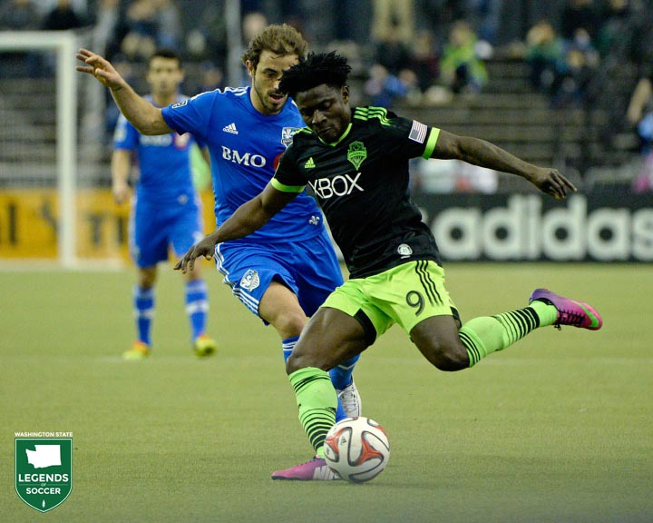 Obafemi Martins is a sensation crowd pleaser, scoring 17 goals as Sounders FC achieves the double of a Supporters' Shield and U.S. Open Cup. (Sounders FC photo)