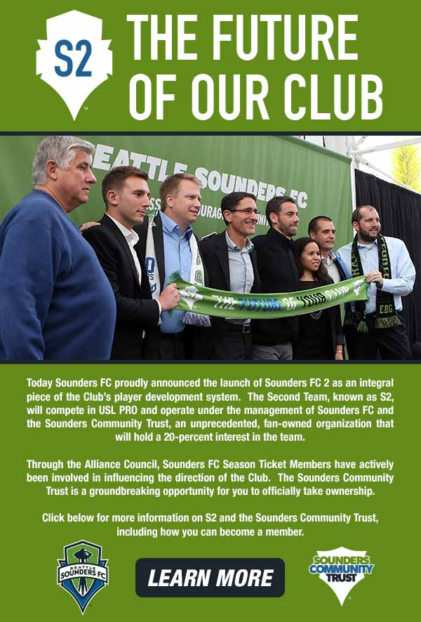 Seattle Sounders FC 2 is announced, with USL-PRO play to begin in 2015 and fans to have a stake in ownership.