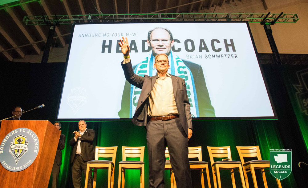 Brian Schmetzer is formally introduced as Sounders head coach at the Alliance Annual Business Meeting at CenturyLink Field. (Courtesy Sounders FC)