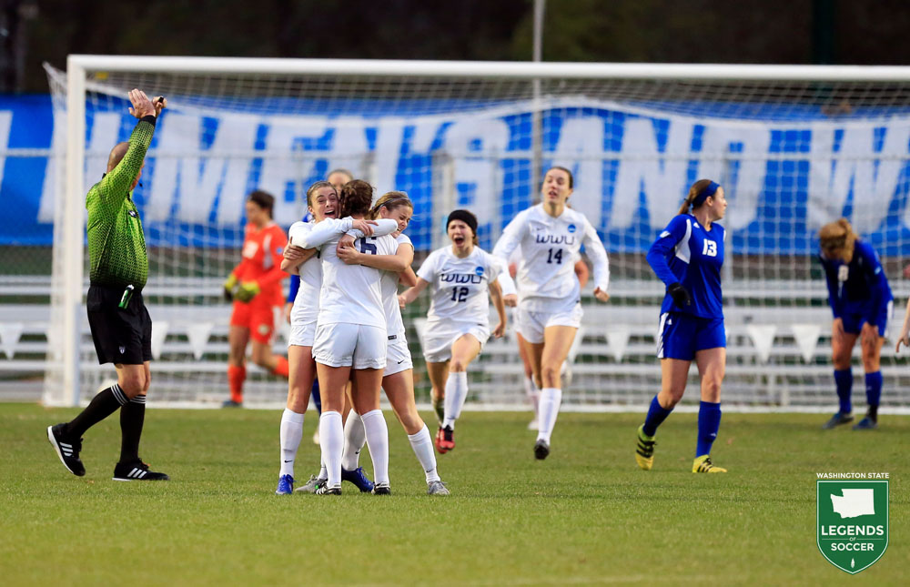 Western Washington celebrates Emily Webster's go-ahead goal in the 2016 NCAA Division II championship game.