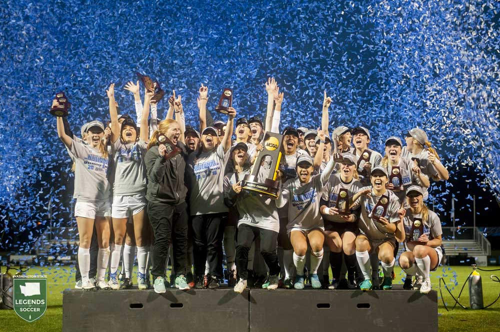 Western Washington lifts its first NCAA championship trophy after defeating Grand Valley State, 3-2, in Kansas City.
