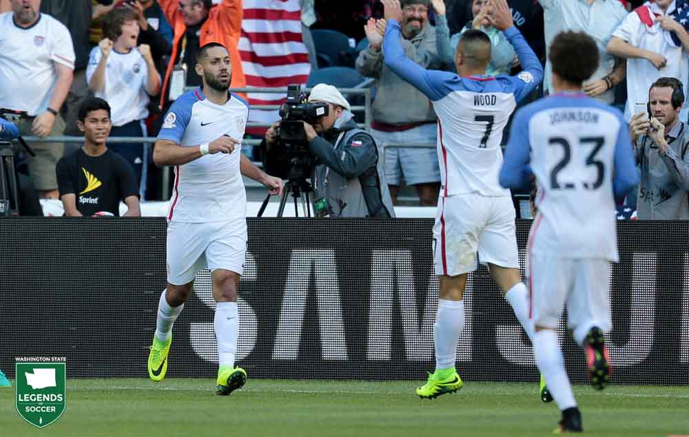Clint Dempsey is congratulated after scoring the opening U.S. goal in the Copa América Centenario quarterfinal vs Ecuador at CenturyLink Field. Dempsey also assisted on the second goal. (Courtesy John Dorton / ISI Photos).