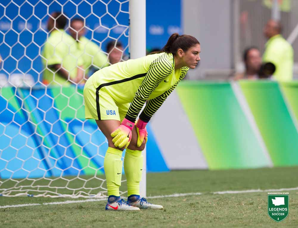 Hope Solo played her 202nd and final match for the USWNT in a quarterfinal vs Sweden at the 2016 Olympic Games. Sweden advanced on penalties following a 1-1 draw, and Solo's postmatch comments were critical of her opponent's defensive tactics. U.S. Soccer responded with a six-month suspension. (Courtesy Brad Smith / ISI Photos)