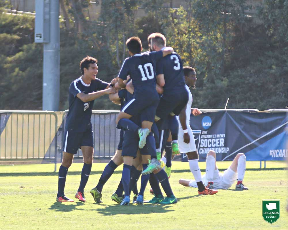 Reaching the NCAA Division II men's tournament for the first time in 2016 was Western Washington. Brady Ulen scored twice in the Vikings' 3-2, first-round upset of No. 19 Dixie State. (Courtesy Western Washington Athletics)