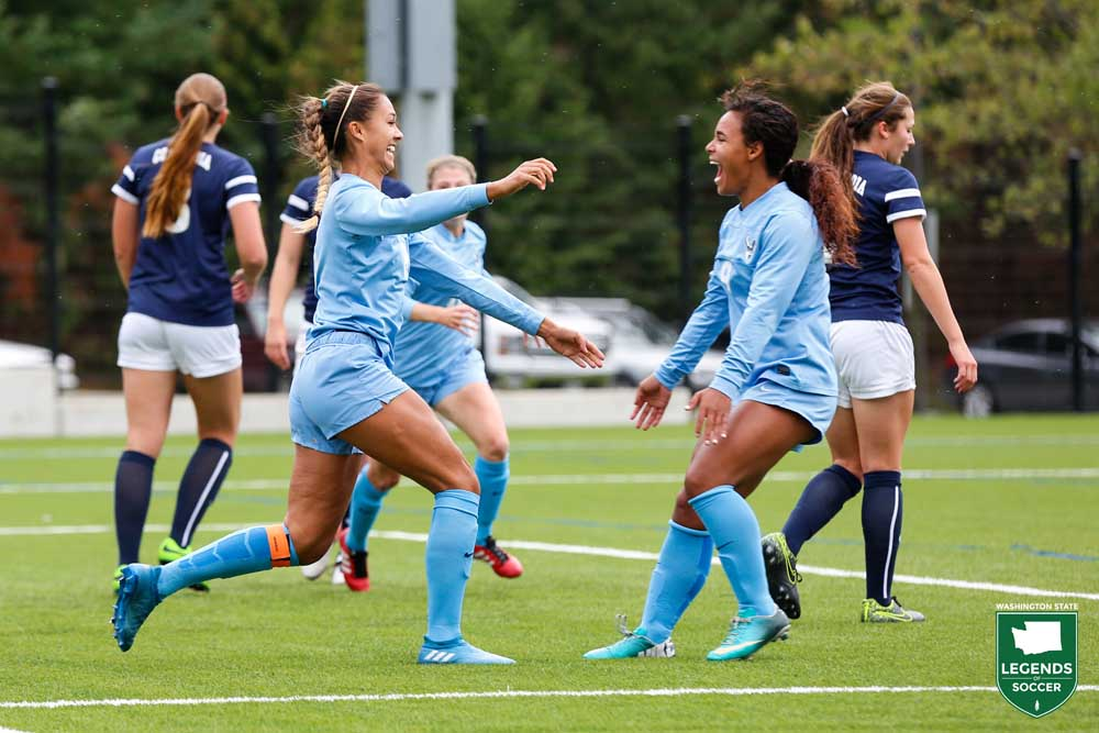 Gabriela Pelogi (right) scored three of her 11 goals during the NCAA tournament as Western Washington won its first national championship. (Courtesy Western Washington Athletics)