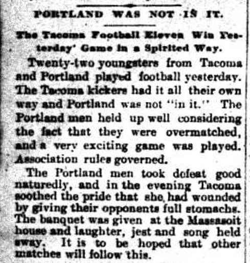 One of the first published encounters was a Christmas Day 1890 encounter between Tacoma AFC and Portland. (Courtesy Seattle Times)