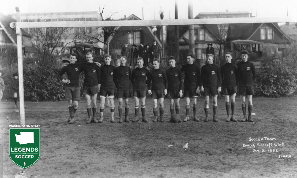 Boeing Airplane Co., founded in Seattle in 1916, soon formed its own state league side, this in 1922. (Courtesy Boeing/Mike Pavone Collection)