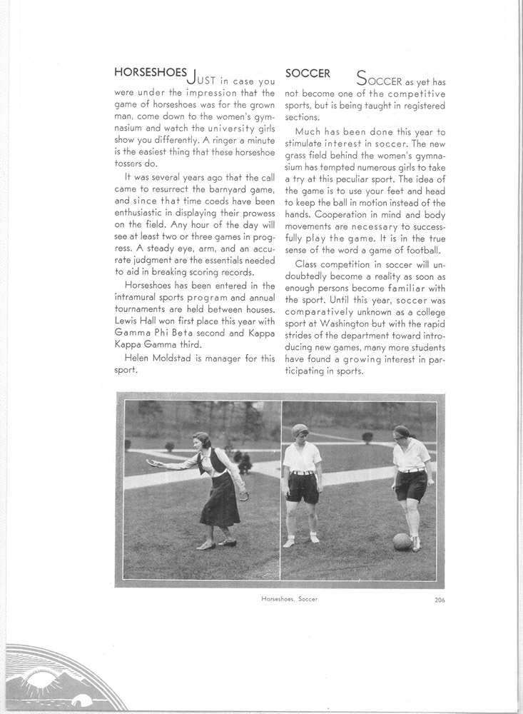 The University of Washington offered coeds instruction in several sports early on, including soccer. (1931 Tyee/UW Libraries)