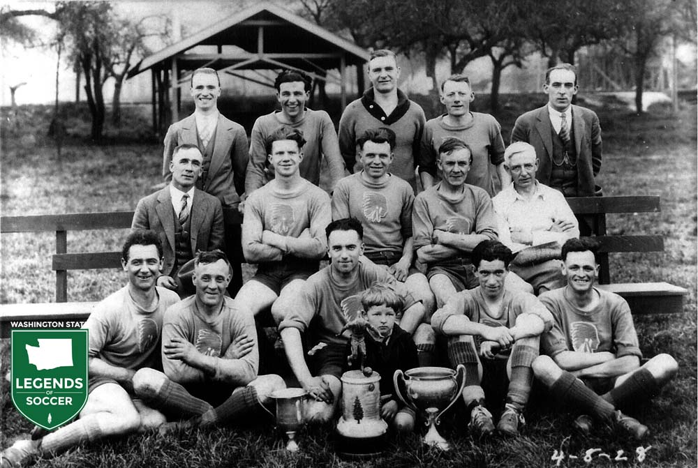 West Seattle began fielding teams in the state league during the Twenties, and this 1928 side won both the league and knockout cup. (Courtesy Pep Peery/Mike Mikkelsen)