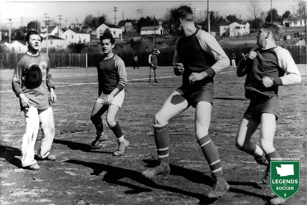 Located just beyond Seattle's southwestern city limits, White Center became a regular soccer venue beginning after World War II. Here a team goes through pregame warmups. (Courtesy Pep Peery/Mike Mikkelsen)