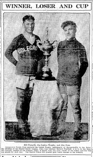 Eight months after being donated by tea magnate Sir Thomas Lipton, the Lipton trophy goes to Colegrove's Purple Pups, 1928 senior youth champions. Seattle restauranteur Clare Colgrove offered complete dinners for 50 cents and lunches starting at 25 cents. (Courtesy Seattle Times)