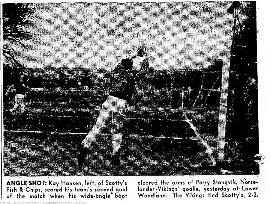 Vikings keeper Perry Stangvik was beaten here, but he always had another sport to fall back upon. Stangvik, who starred at Seattle Pacific College from 1949-52, then signed with the Brooklyn Dodgers organization. (Courtesy Seattle Times)