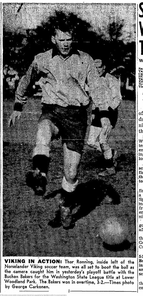Thor Ronning, an attacking force for the Vikings, was unable to score and stop Buchan Bakers from winning their first state league title. (Courtesy Seattle Times)