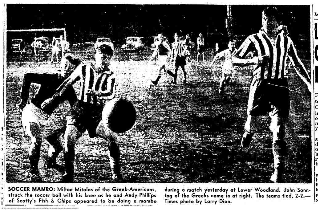 Immediately upon arriving at Lower Woodland the Greek-Americans were recognizable in their striped shirts.  (Courtesy Seattle Times)