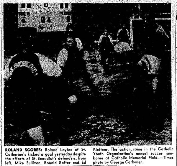 A jamboree commenced the CYO fall season at Catholic Memorial Stadium. Corner kicks were used to break ties. (Courtesy Seattle Times)