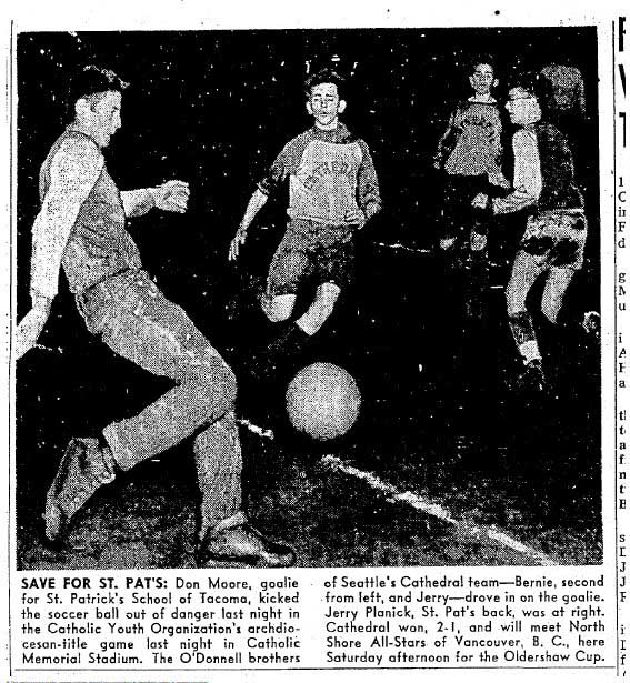 Seattle's St. James Cathedral faced a tough challenge for the local CYO crown before advancing to play for (and eventually win) the Oldershaw trophy. (Courtesy Seattle Times)