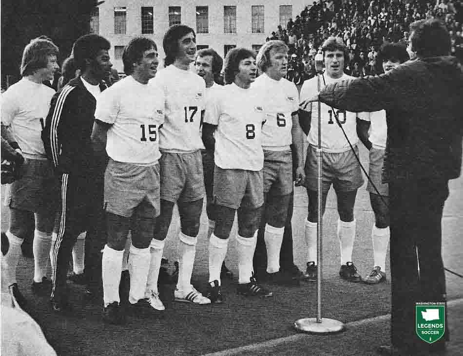 Sounders players gather to sing the Star Spangled Banner before the 1975 home opener.