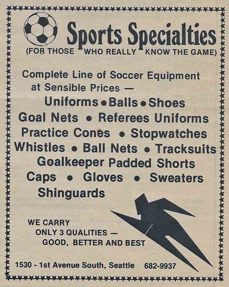 Denzil Miskell's Sports Specialties was Seattle's first soccer shop.