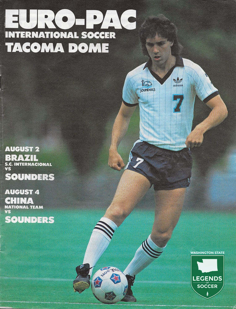 When the Sounders hosted the first sporting event in the Tacoma Dome, it was only natural to have a native son, Mark Peterson, on the program cover.