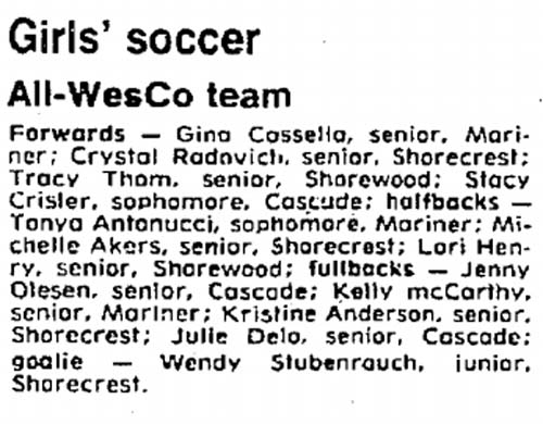 All-Wesco selections featured three future USWNT members, plus a women's league commissioner.