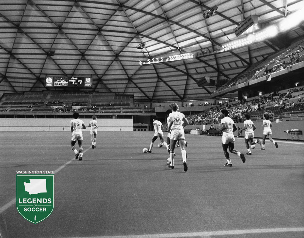 Brazil's Internacional takes the field prior to the Tacoma Dome's first sporting event, the EuroPac Cup.