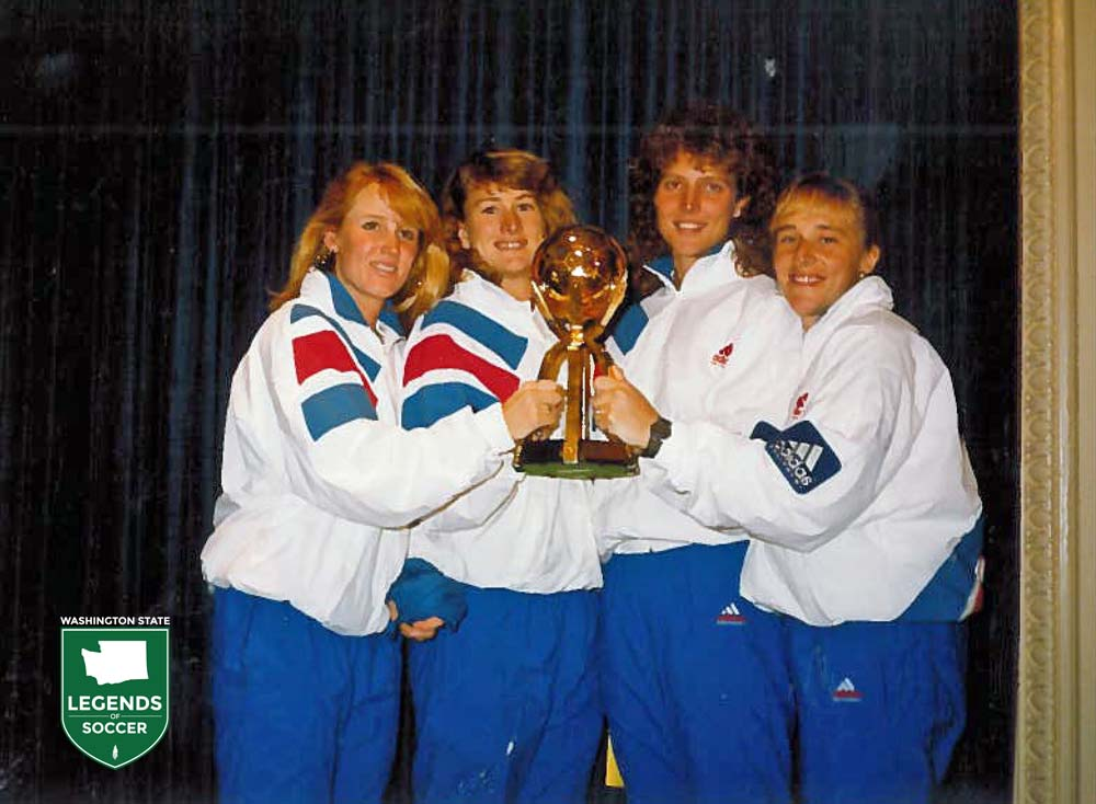 Washington's own (from left) Shannon Higgins, Lori Henry, Michelle Akers and Amy Allmann are members of the first FIFA Women's World Cup champions.