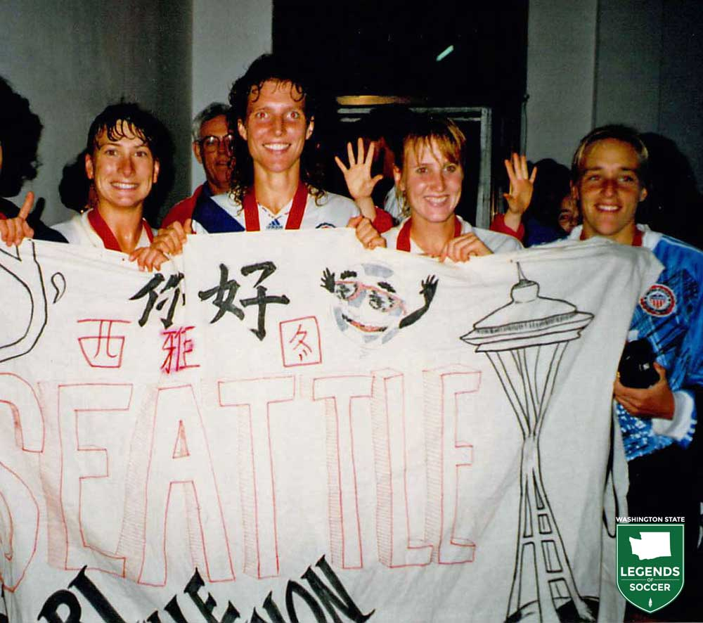 Seattle area natives (from left) Lori Henry, Michelle Akers, Shannon Higgins and Amy Allmann celebrate after winning the World Cup.