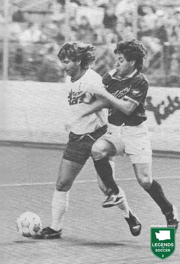 Gary Heale, left, leads the Tacoma Stars in goals and assists in 1990-91 as they reach the MISL playoffs.