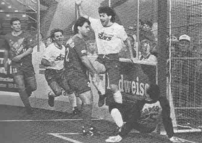 Mark Karpun, right, and Joey Waters celebrate a Tacoma Stars goal.