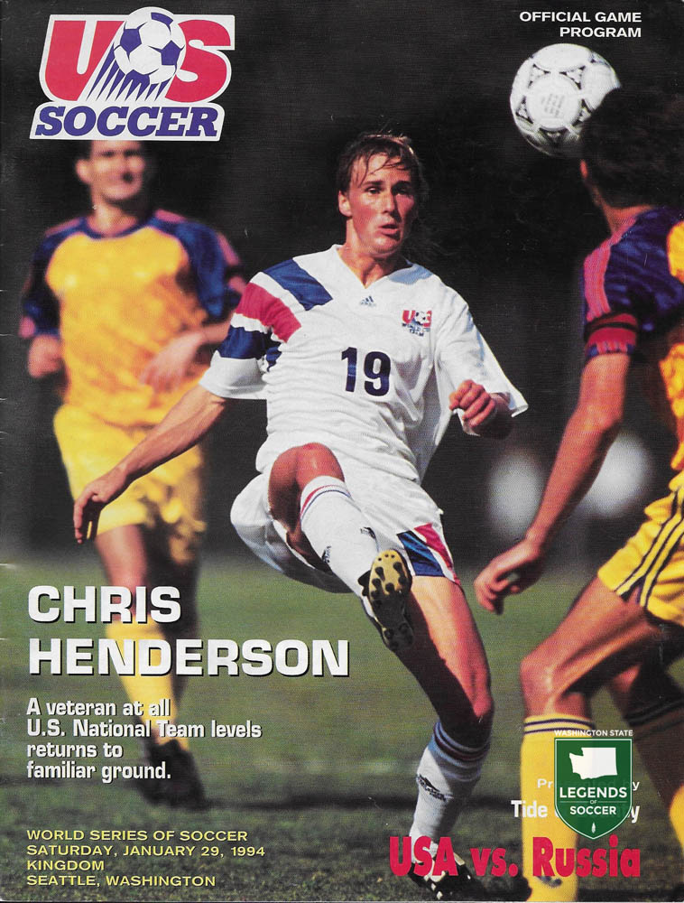 Everett's Chris Henderson featured on the cover of the USA-Russia match program.