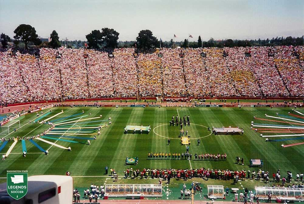 Many fans from throughout Washington traveled to see 1994 World Cup matches. Here, on July 4, the knockout round featured the USMNT facing eventual champion Brazil. (Frank MacDonald photo)