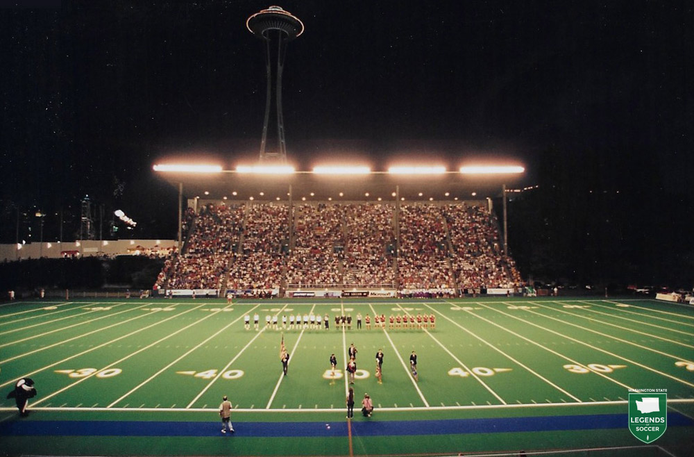 A capacity crowd greets the Sounders and Vancouver for the final 1994 regular season game at Memorial Stadium.