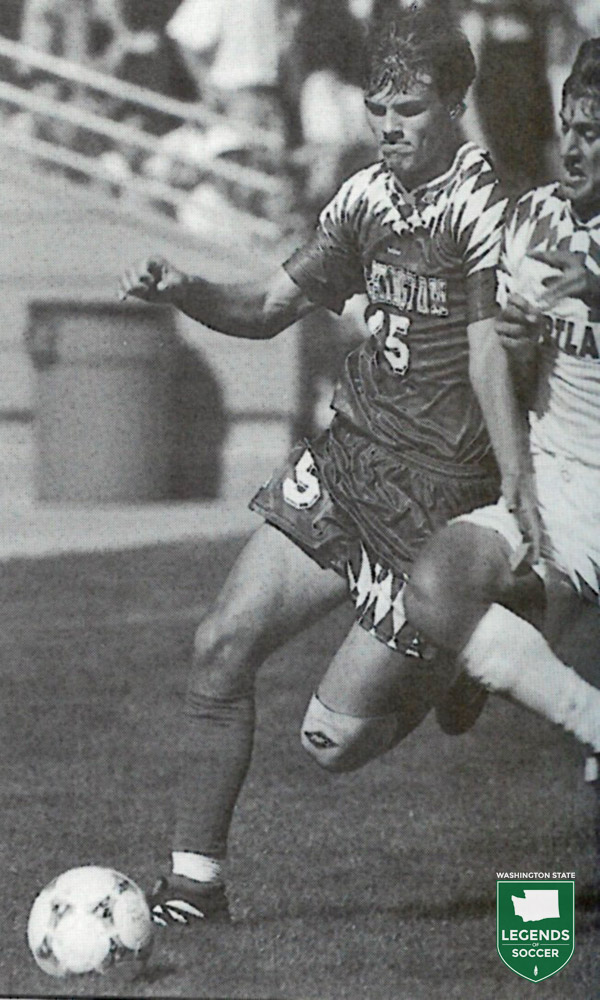 Washington's Craig Waibel challenges for the ball versus Portland.